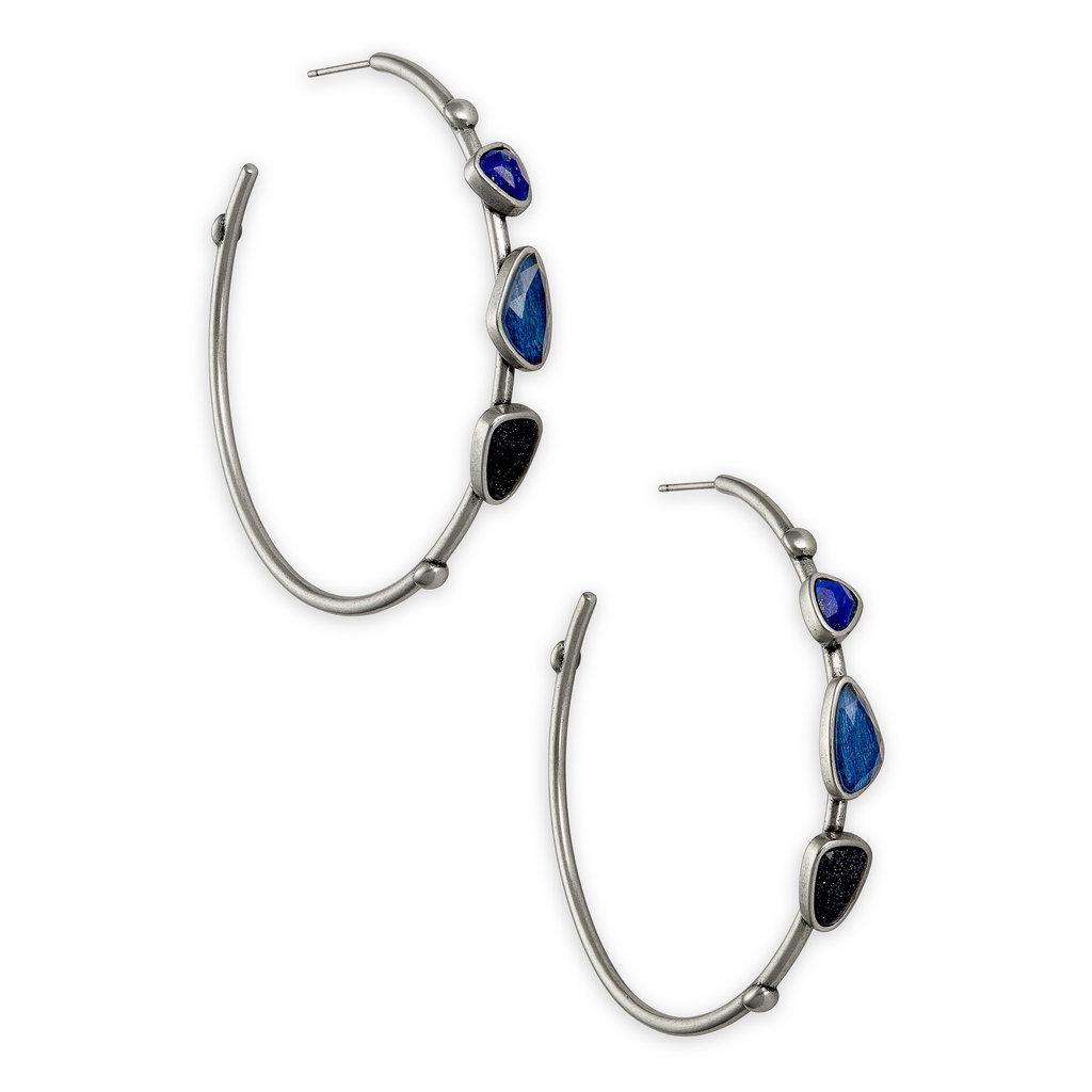 Kendra Scott Ivy Vintage Silver Hoop Earrings In Navy Mix
