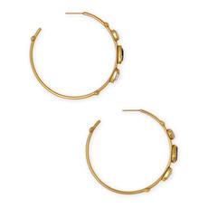 Kendra Scott Ivy Hoop Earring Vintage Gold White Abalone Mix