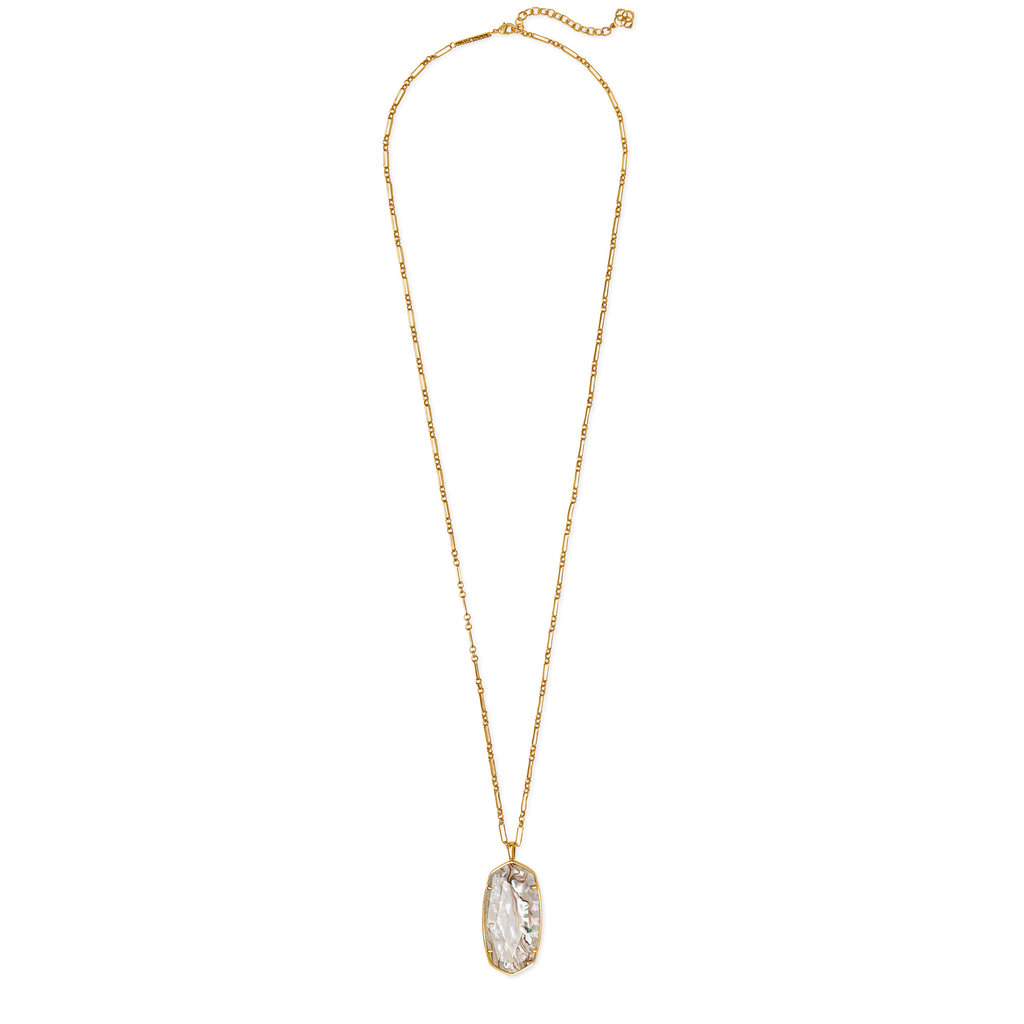 Kendra Scott Faceted Reid Vintage Gold Long Pendant Necklace In White Abalone