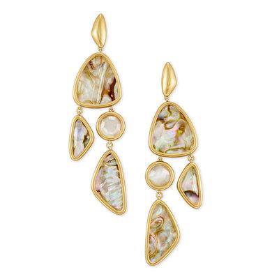 Kendra Scott Margot Vintage Gold Statement Earrings In White Abalone