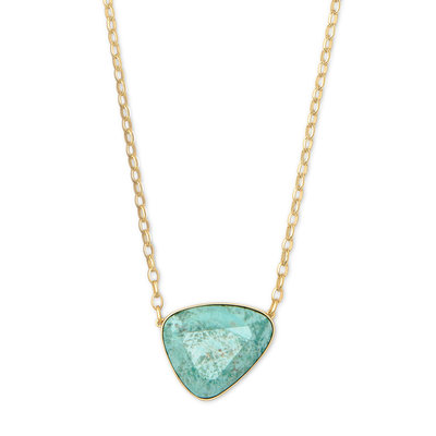 Kendra Scott Mckenna Gold Pendant Necklace In Sea Green Chrysocolla