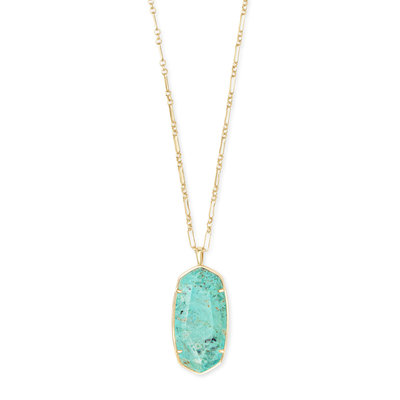 Kendra Scott Faceted Reid Gold Long Pendant Necklace In Sea Green Chrysocolla
