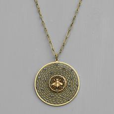 *Josephine Round Filigree Bee Necklace