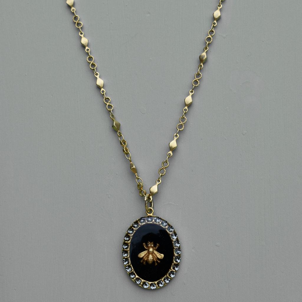 Antoinette Black Bee Pendant Necklace