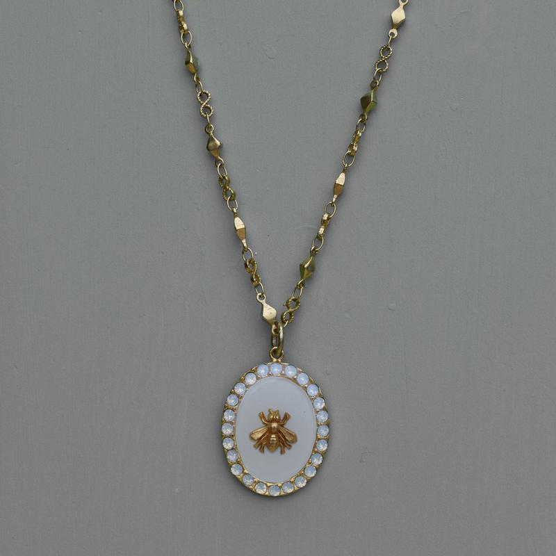 Antoinette White Bee Pendant Necklace