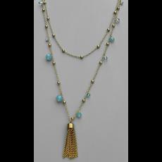 Tiff Convertible Blue Beaded Tassel Necklace
