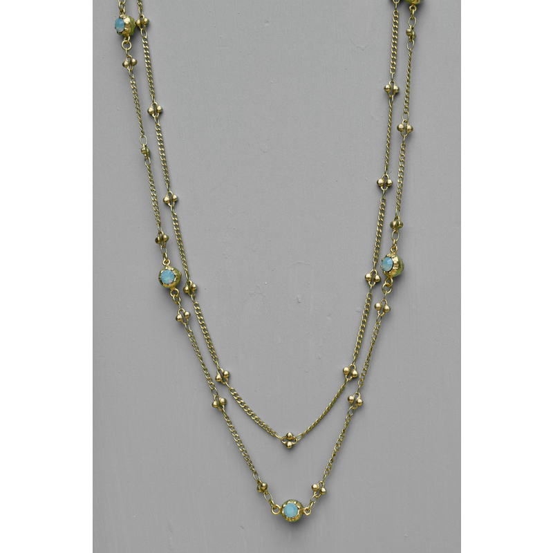 Lucie Lyon Crystal Necklace in Pacific Opal