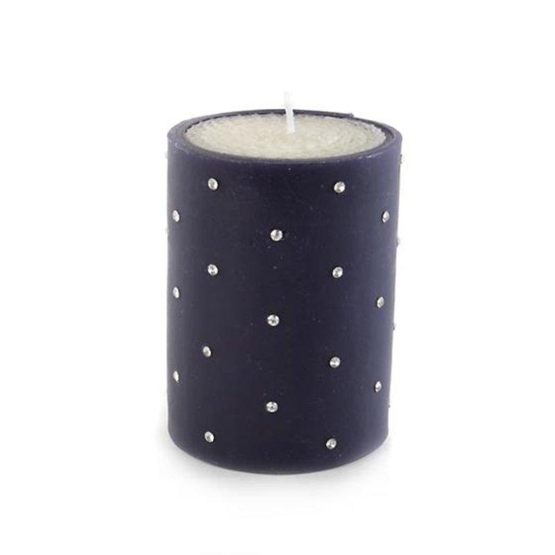 """MacKenzie-Childs Sparkle Pillar Candle - 4"""" - Navy"""