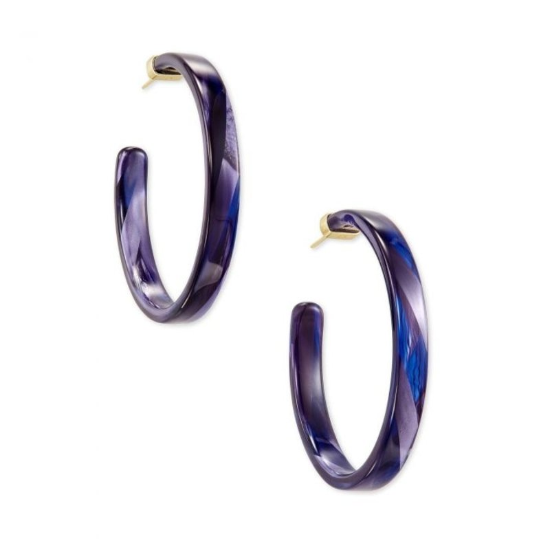 Kendra Scott Small Kash Earring Gold Indigo Acetate