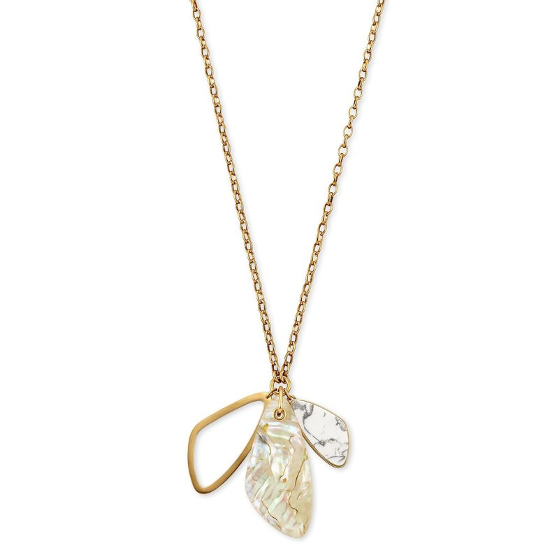Kendra Scott Mckenna Vintage Gold Charm Necklace in White Mix