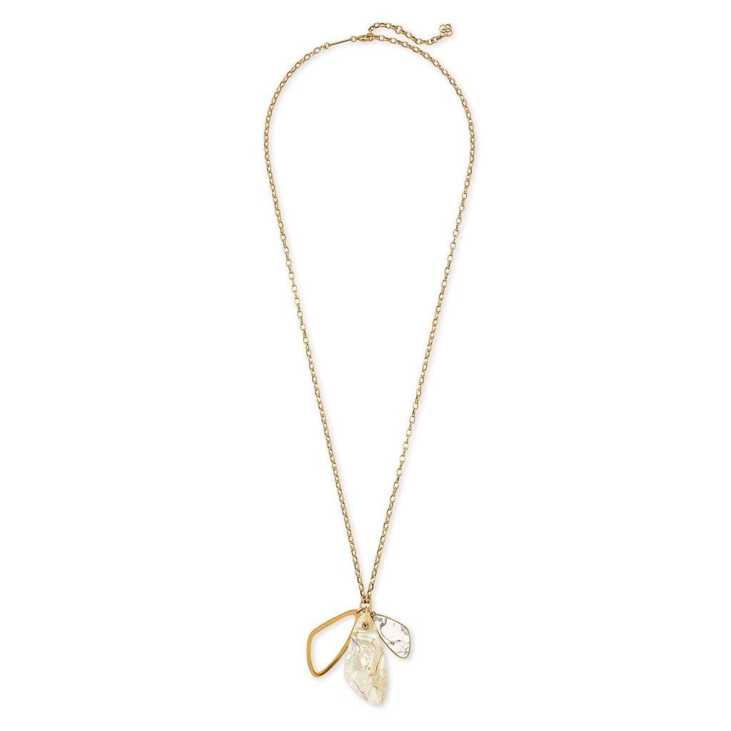 Kendra Scott Mckenna Vintage Gold Charm Necklace in White Mix