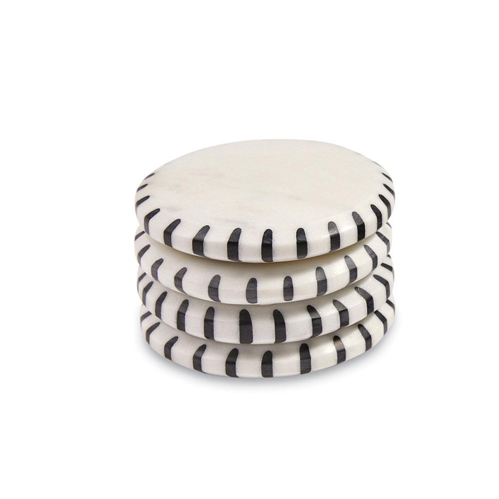 Southbank's Ticking Black & White Marble Coaster Set