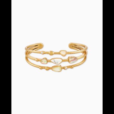Kendra Scott Ivy Statement Bracelet Vintage Gold White Mix