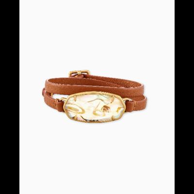 Kendra Scott Elle Brown Wrap Bracelet in White Abalone