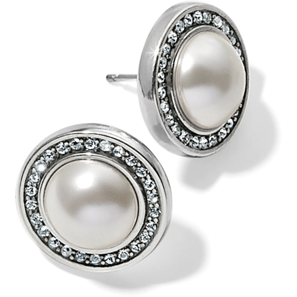 Chara Ellipse Pearl Post Earrings