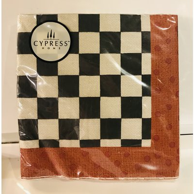 Southbank's Black & White Checked Napkin/Red Border