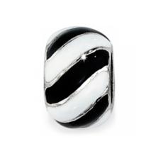 Black & White Candystripes Bead