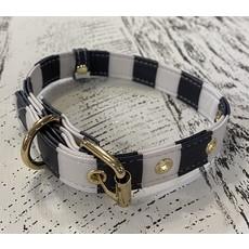 Southbank's Black & White Stripe Dog Collar