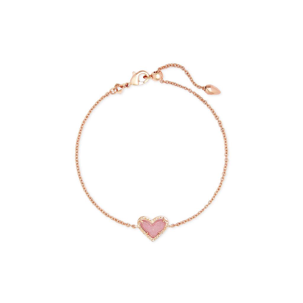 Kendra Scott Ari Heart Bracelet Gold Light Pink Drusy*