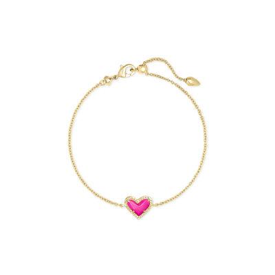Kendra Scott Ari Heart Bracelet Gold Magenta*