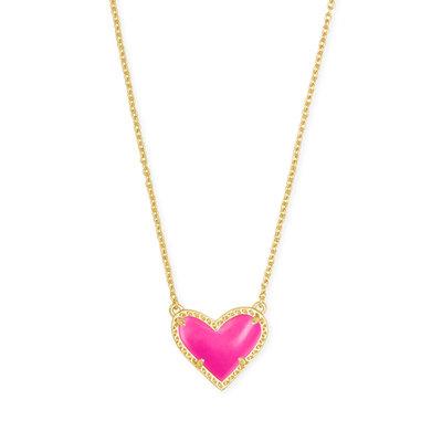 Southbank's Ari Heart Gold Necklace Magenta*