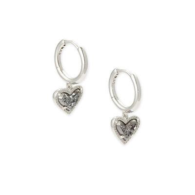 Kendra Scott Ari Heart Huggie Earring Rhodium Platinum Drusy*