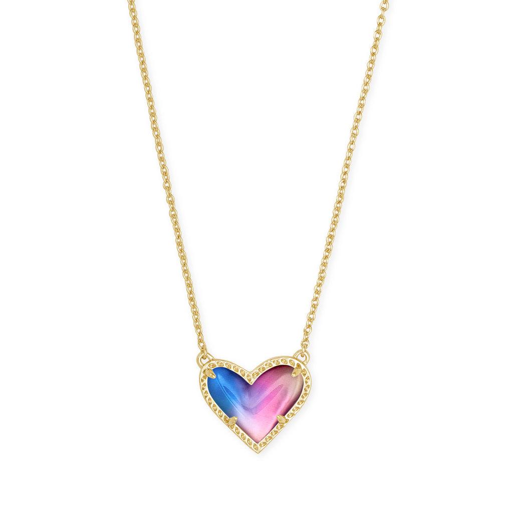 Kendra Scott Ari Heart Necklace Gold Watercolor Illusion*