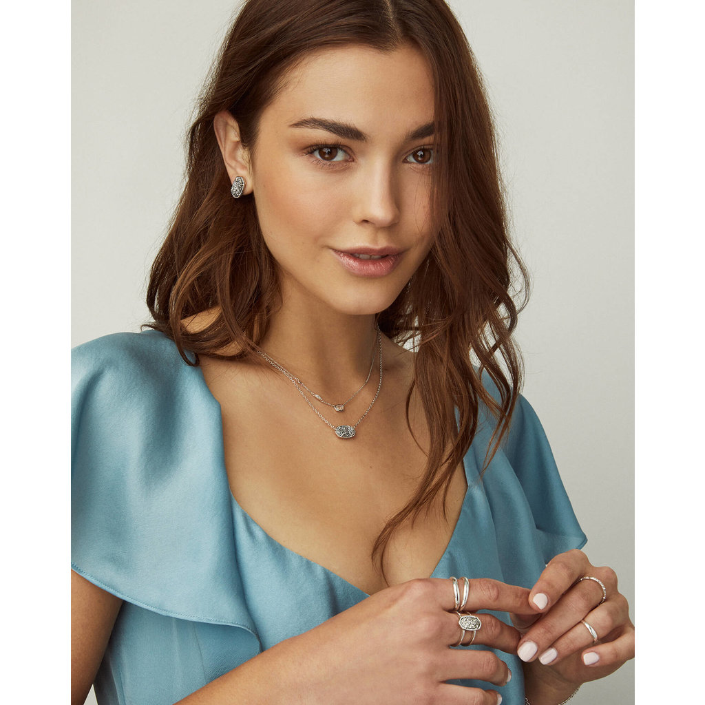 Kendra Scott Elisa Silver Pendant Necklace In Ruby Red