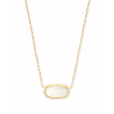 Kendra Scott Elisa Gold Pendant Necklace In White Kyocera Opal
