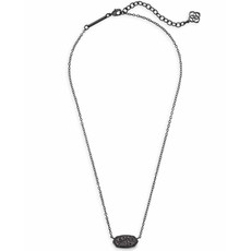 Kendra Scott Elisa Pendant Necklace In Black Drusy
