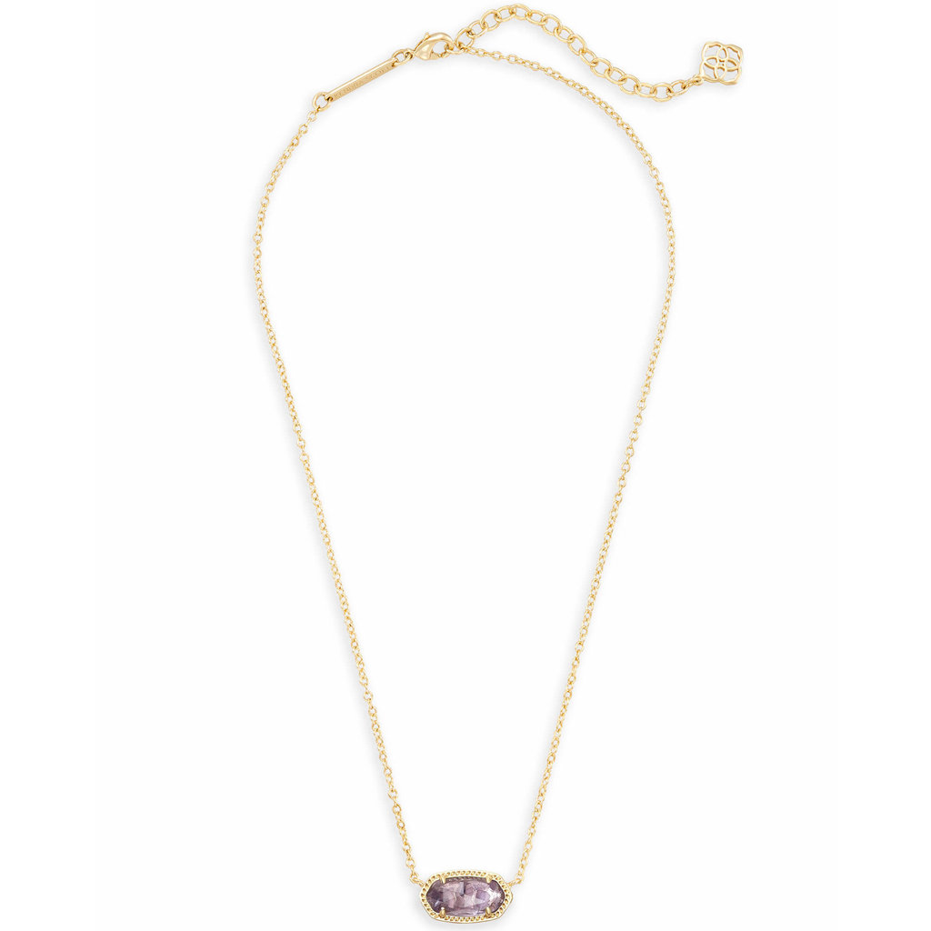 Kendra Scott Elisa Gold Short Pendant Necklace In Amethyst