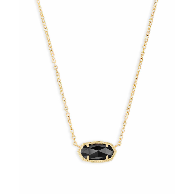 Kendra Scott Elisa Gold Pendant Necklace In Black Opaque Glass
