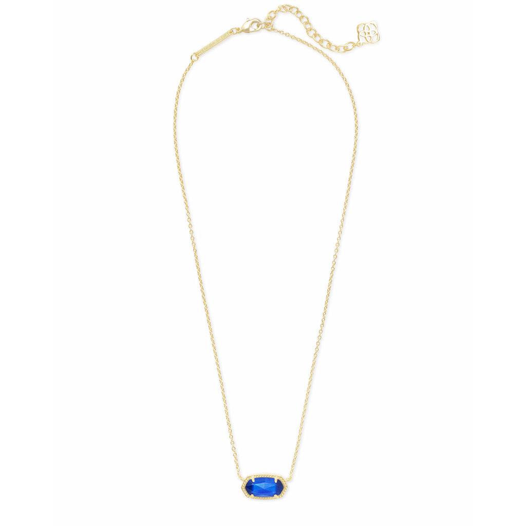 Kendra Scott Elisa Gold Pendant Necklace In Cobalt Cat's Eye