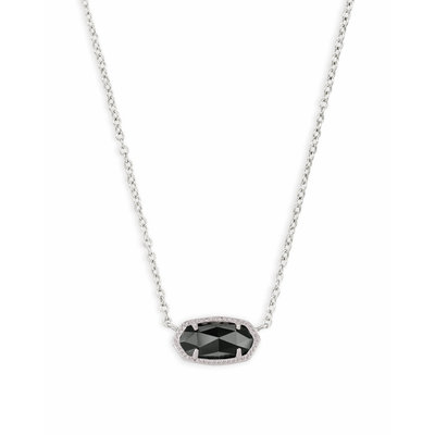 Kendra Scott Elisa Silver Pendant Necklace In Black Opaque Glass