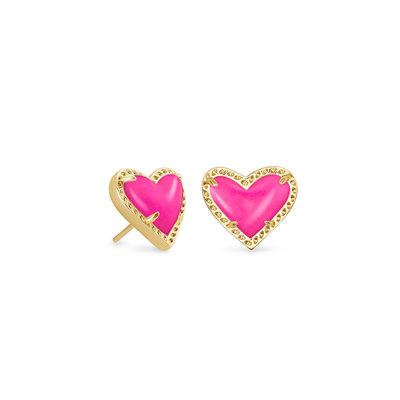 Kendra Scott Ari Heart Gold Stud Earring Magenta*