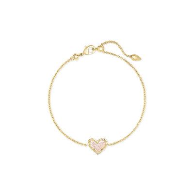 Kendra Scott Ari Heart Gold Bracelet Iridescent Drusy*