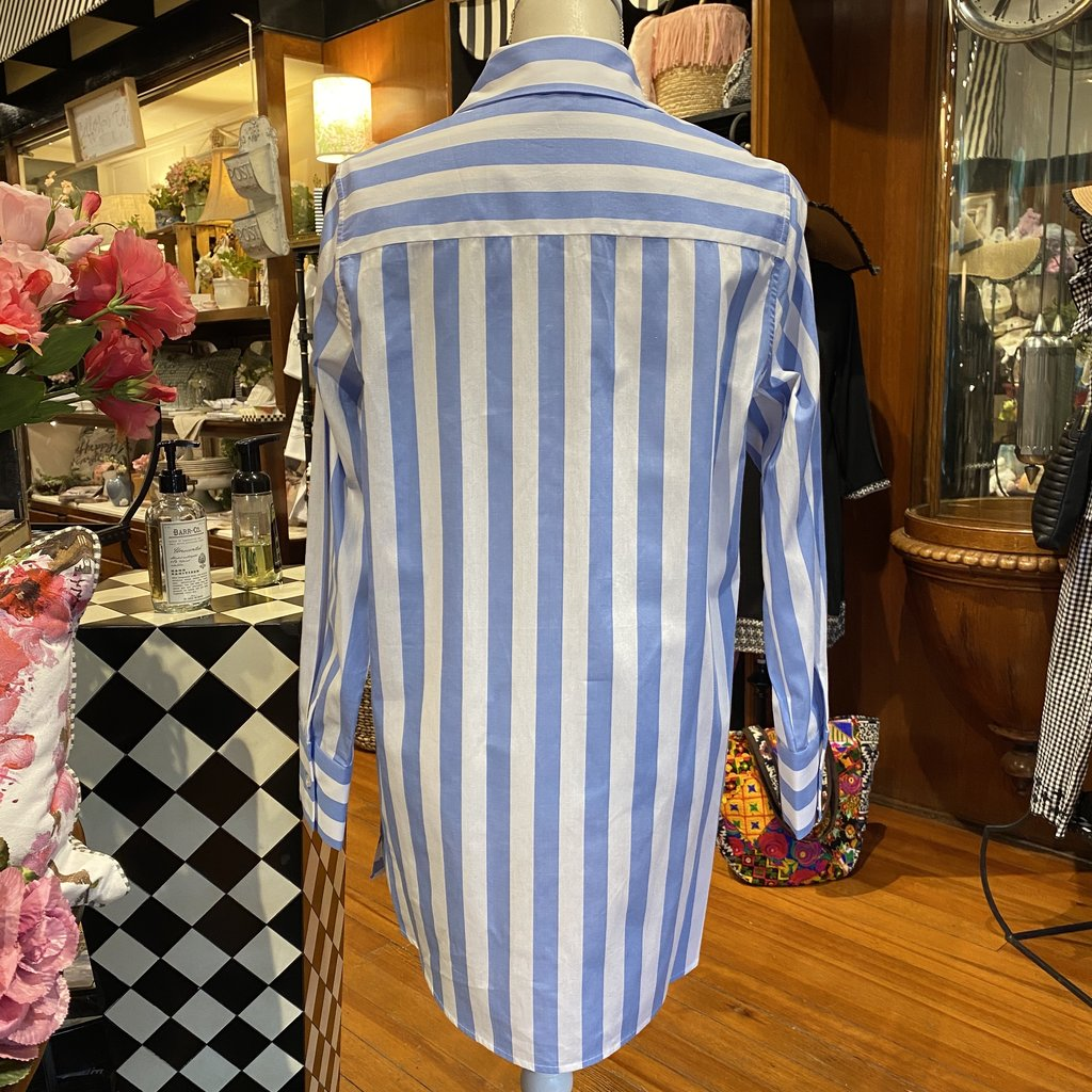 Bee Boutique Light Blue Striped Blouse