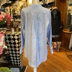 Bee Boutique Blue Striped Blouse