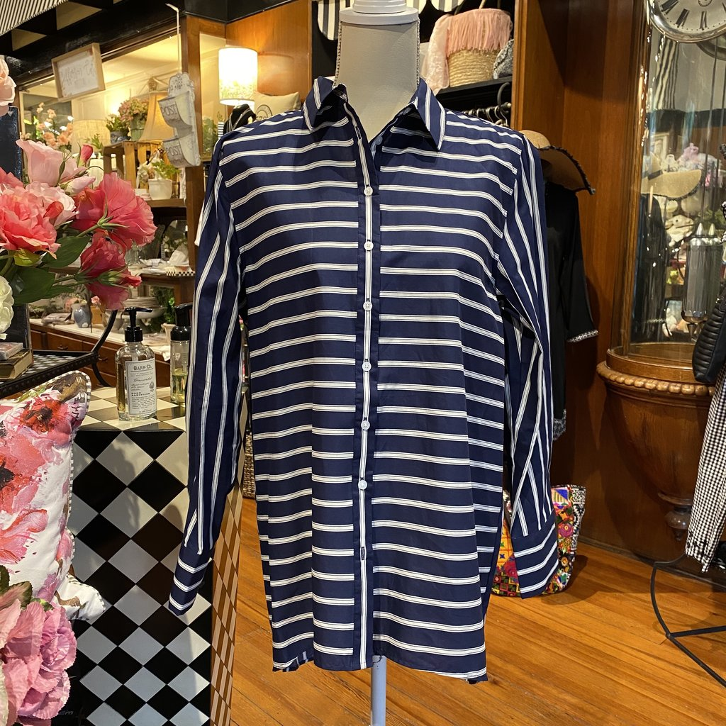 Bee Boutique Navy Striped Blouse