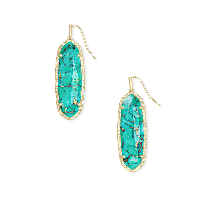 Kendra Scott Layla Drop Earrings Bronze Veined Turquoise