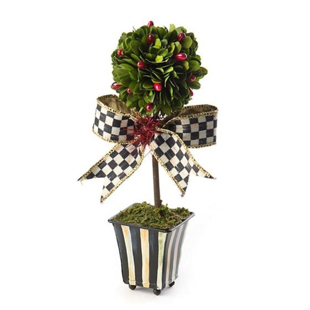 MacKenzie-Childs Deck the Halls Boxwood Topiary - Mini