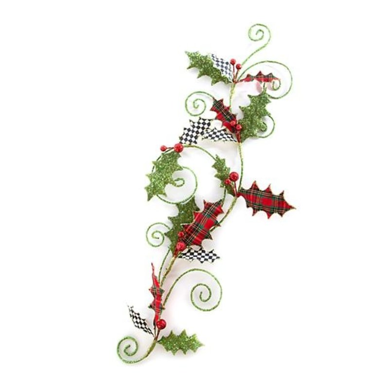 MacKenzie-Childs Happy Holidays Holly Swirl Garland