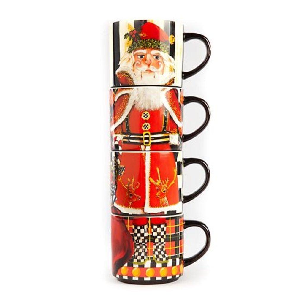 MacKenzie-Childs Santa Nutcracker Stacking Mugs - Set of 4
