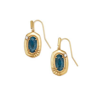 Anna Vintage Gold Small Drop Earrings In Teal Apatite