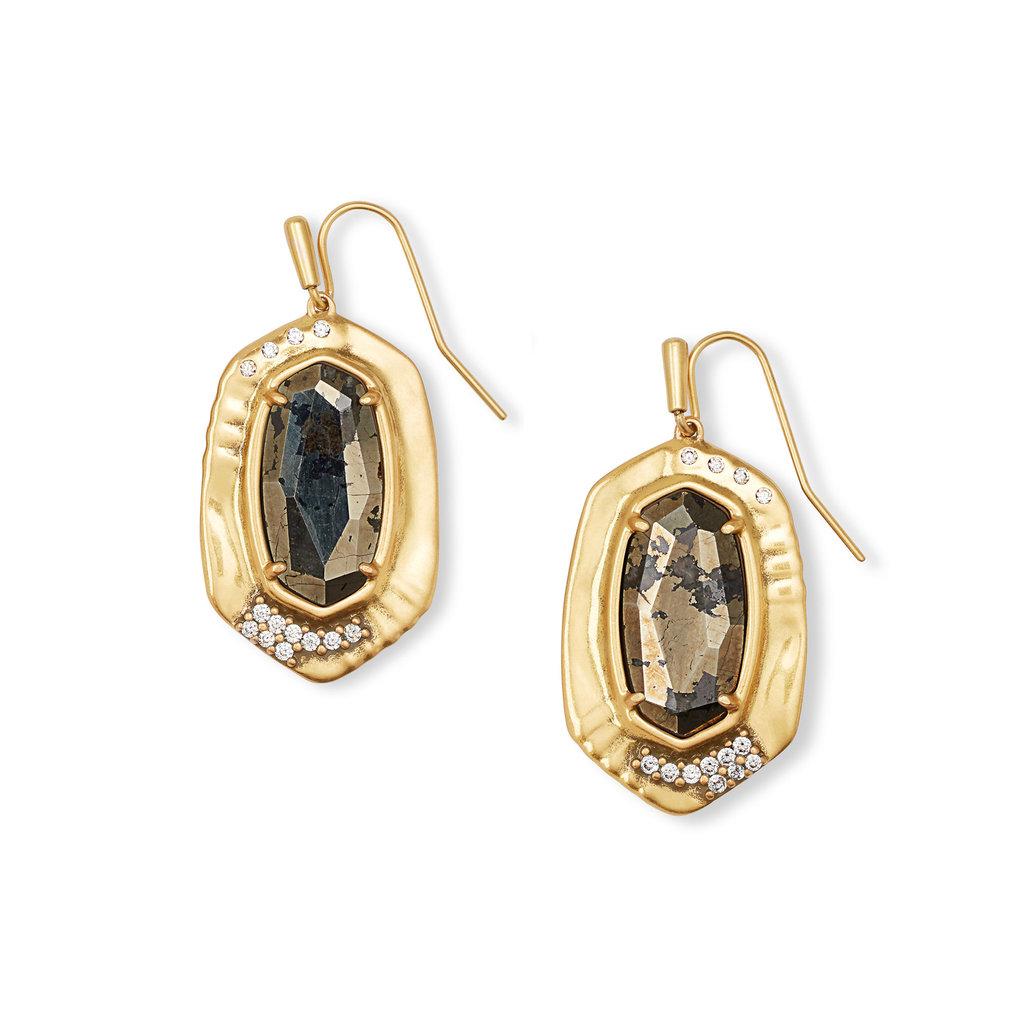 Anna Vintage Gold Drop Earrings In Black Pyrite