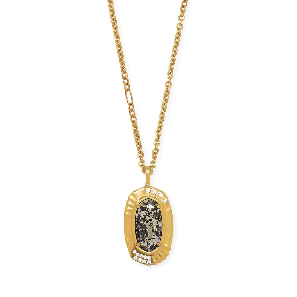 Anna Vintage Gold Long Pendant Necklace In Black Pyrite