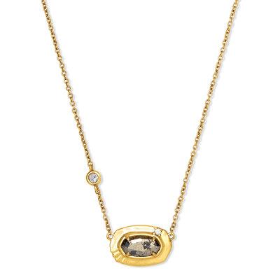 Anna Vintage Gold Pendant Necklace In Black Pyrite