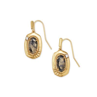 Kendra Scott Anna Vintage Gold Small Drop Earrings In Black Pyrite