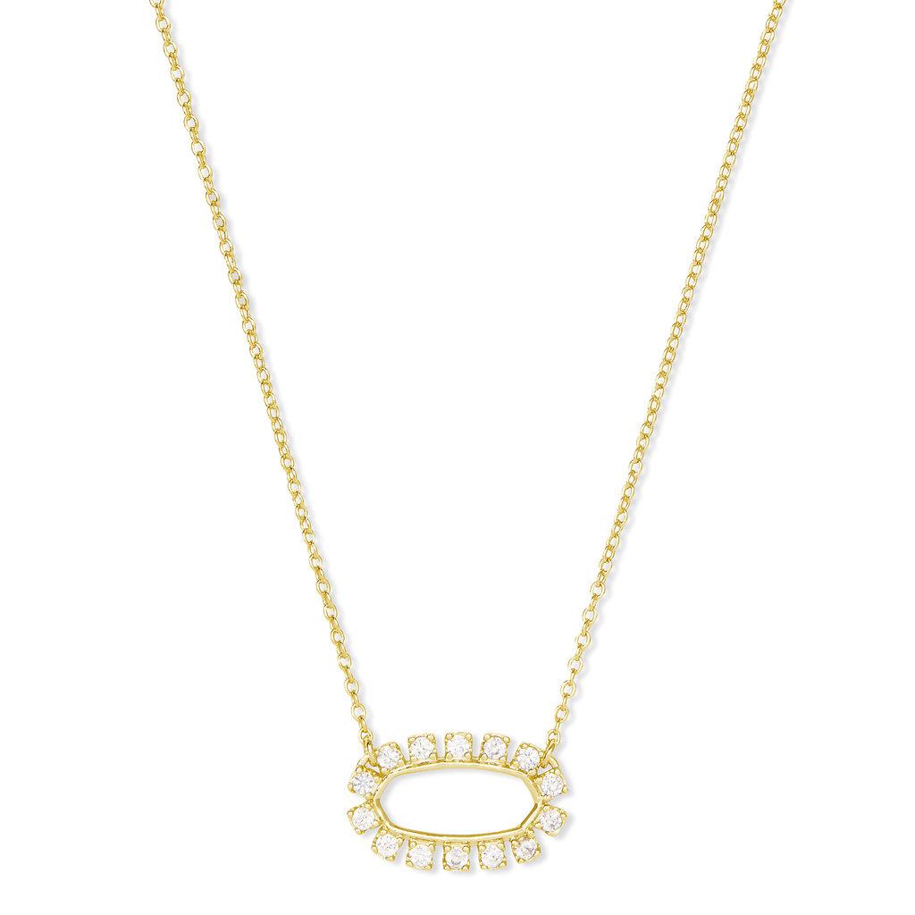Elisa Gold Open Frame Crystal Pendant Necklace