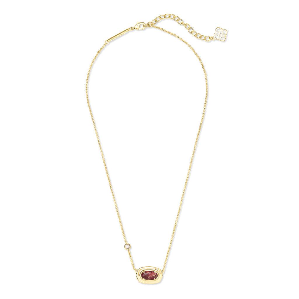 Anna Gold Pendant Necklace In Bronze Veined Maroon Jade